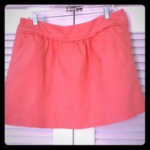 J.Crew Coral Cotton Linen Mini Skirt Size 10